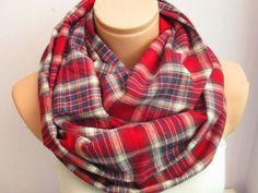 Navyblue and Burgundy Plaid Infinity Scarf,Shawl Circle Scarf,Unisex Scarf,Loop scarf,Gift Idea,Scarf,Scarves