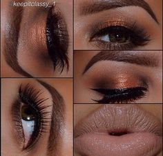Copper eyeshadow for brown eyes and nude lips