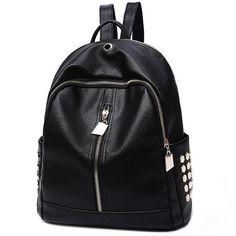 How nice Leisure Black PU Lichee Pattern Punk Rivet Zipper School Headphone Hole College Backpack ! I want to get it ASAP! Lace Backpack, Retro Backpack, Striped Backpack, Backpack For Teens, Leather Backpack, Backpack Bags, Diaper Backpack, Diaper Bags, Boys Backpacks