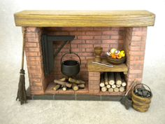 Dollhouse Colonial Fireplace by FirecraftMiniatures on Etsy