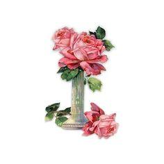 Free freebie printable vintage printable embossed chromolithograph scrap of pink roses in vase. LOTS MORE FREE SCRAPS HERE!