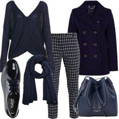0826eab106 Giornata in blu: outfit donna Basic per ufficio e tutti i giorni   Bantoa