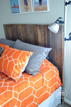 pallet headboard - how to install to bed frame