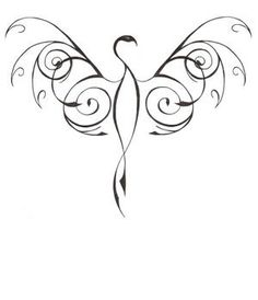 phoenix tattoo ACROSS SHOULDER BLADES ON BACK- REAL THIN. GOING DOWN CENTER OF SPINE