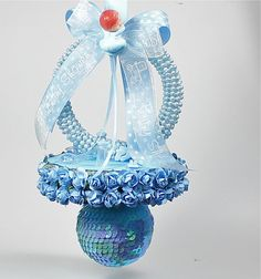 Blue Jumbo Baby Shower Necklace  Corsage by FavorsBoutique on Etsy, $42.00
