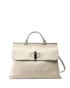 Bamboo Daily Leather Top Handle Bag, White - Gucci #guccibag #gucciogucci #gucci #designer #covetme