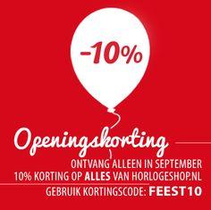 Na keihard werken is het dan eindelijk zo ver, HorlogeShop.nl is geopend! Dat moet gevierd worden! Daarom alleen deze maand 10% korting op echt alle horloges! Dus bekijk direct ons complete aanbod! http://www.horlogeshop.nl/