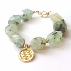 Prehnite Bracelet - Gold - Vermeil - Green - Gemstone Jewelry on Etsy, $72.00