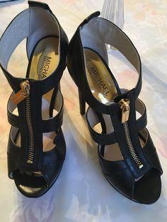 ded8a9777 Women Shoes Michael Kors Size 6.5 M Black Strappy Sandals Platform Heels  Zipper  fashion