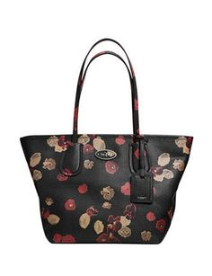 Coach Taxi Zip Shoulder Tote In Floral Embossed Leather