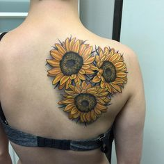 Sunflower tattoos. Sunflower is one of the most vibrant flowers and it can evoke the feelings of joy and exuberance in the minds of all. Countless painters around the world have been inspired by sunflower and they create great works.