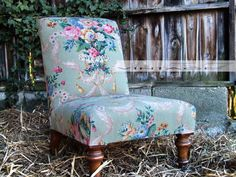 Restored Victorian Nursing Chair - Stunning Vintage French Floral Linen Fabric