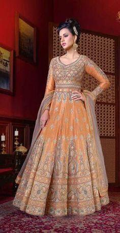 3278b648945b8f Orange art silk party wear long art silk gown for women