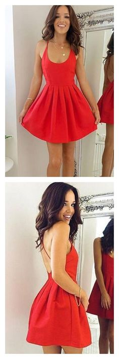 homecoming dresses 2017,v-neck homecoming dresses,red  homecoming dresses, sexy homecoming dresses, cocktail dresses, cross back homecoming dresses,graduation dresses #SIMIBridal#homecomingdreses