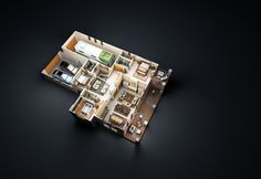 3d color floor plan, San Luis Obispo Residential design