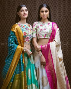 Bored of the conventional half sarees? Try our beautiful fusion of handlooms and hand embroidered sets and make some heads turn! Pretty girls and in our latest creations Photo by Hair and makeup by Paired with . Half Saree Designs, Lehenga Designs, Blouse Designs, Indian Attire, Indian Ethnic Wear, Lehenga Choli, Sabyasachi, Lehnga Dress, Silk Dupatta