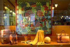 Hermès Paris ~ window display Scarf Tying Tutorial, Hermes Window, Market Stalls, Shop Fronts, Hermes Paris, Mark Cross, Shop Window Displays, South Of France, Gucci