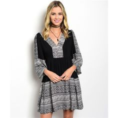 Boho Aztec Black Tan Bell Sleeve Tunic Dress Large Boho Black Tan Aztec Bell Sleeve Tunic Dress, 100% Rayon, Size Large.  No Trades, Price Firm unless Bundled.  BUNDLE 3 OR MORE ITEMS FOR 15 % OFF. Boutique Dresses Mini