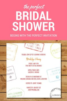 perfect travel themed bridal shower invitation.
