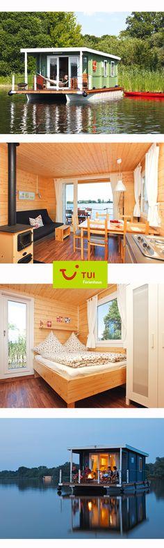 Schwimmende Ferienhäuser auf der Havel - komfortable Gemütlichkeit trifft Abenteuer! Das sogenannte BunBo - Bungalow-Boot - bietet viel Platz für 2 Erwachsene und 2 Kinder und kann auch ohne Führerschein nach einer kurzen Einweisung vor Ort gefahren werden.