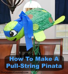 Can't find a dolphin pull string pinata but I did find a regular pinata at Oriental Trading. Now I know how to make it into a pull-string pinata for the party! Turtle Birthday Parties, Ninja Turtle Birthday, Boy Birthday, Birthday Ideas, Fireman Birthday, Zombie Birthday, Third Birthday, Frozen Birthday, Ninja Turtle Pinata