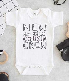 New To The Cousin Crew Cute Baby Onesie - FEROLOS.COM <br> Dress New To The Cousin Crew Cute Baby Onesie to your babies the nines with this cotton one piece. comfortable and beautiful print to get the baby all happy. Custom Baby Onesies, Baby Shirts, Tee Shirts, Baby Outfits, Cute Baby Gifts, Baby Gifts For Boys, Baby Girl Gifts, New Baby Gifts, Boy Onesie