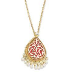 Kennedy Gold-plated Enamel 17In w/3In ext French Moroccan Pin/Pendant