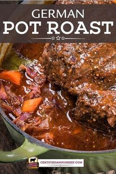 German Pot Roast German Pot Roast is a classic comforting, that's rich and hearty with onions, carrots, German mustard, and dark beer. Beef Pot Roast, Roast Beef Recipes, Meat Recipes, Cooker Recipes, Crockpot Recipes, Dinner Recipes, Game Recipes, Dutch Oven Pot Roast, Roast Gravy