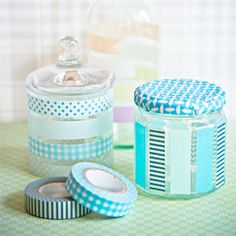 Old glass jars and bottles made new with Washi tape.