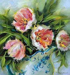 Confectioners Sugar Pink Tulips by Nancy Medina Oil ~ 14 x 14