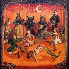 Frolic forêt signé imprimer 12 x 12 - fées, chat, chouette, chèvre, lapin musiciens