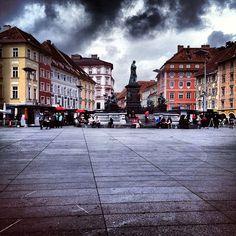 Graz Hauptplatz / main square.@haubentaucherat (wolfgang) 's Instagram photos   Webstagram - the best Instagram viewer Maine, Street View, Clouds, Photos, Instagram, Graz, Pictures, Cloud