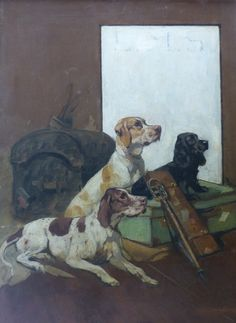 In our October 2016 Fine Art auction: English School (early 20th Century), Three gun dogs sitting by sporting luggage under an L.M.S. sign, oil, 76 x 50cm. L.M.S. stands for the London Midland and Scottish Railway which operated from 1923 to 1947. This painting may be a preliminary design for a railway poster.