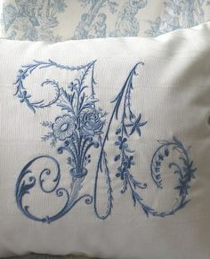 Custom Embroidered Victorian Monogram on handmade Moire Boudoir Pillow or Cushion Cover Embroidery Designs, Embroidery Monogram, White Embroidery, Custom Embroidery, Vintage Embroidery, Monogram Pillows, Shabby, Antique Lace, Vintage Lace
