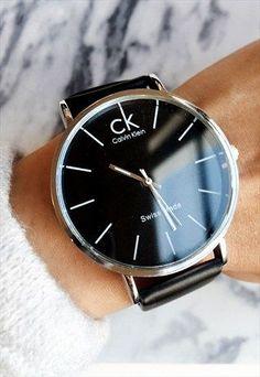 Calvin Klein Black & Silver Faux Leather Watch Style Source by Calvin Klein Watch, Calvin Klein Black, Calvin Klein Women, Stylish Watches, Cool Watches, Wrist Watches, Calvin Klein Femmes, Beautiful Watches, Fashion Watches