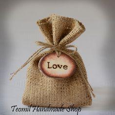 Burlap Favor Bag Rustic Gift Bag Party Shower Bag  SET by Teomil, $169.00
