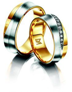Meister Yellow gold and White gold wedding ring set with 9x diamonds