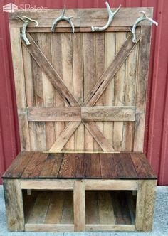 Rustic Tall Pallet Hall Tree / Bench Rustic Tall Pallet Hall Tree / Bench Pallet Benches Pallet Chairs & Stools Pallet Shelves & Pallet Coat Hangers The post Rustic Tall Pallet Hall Tree / Bench appeared first on Pallet Diy. Wooden Pallet Projects, Wooden Pallet Furniture, Pallet Crafts, Rustic Furniture, Pallet Ideas, Furniture Storage, Industrial Furniture, Furniture Projects, Furniture Design