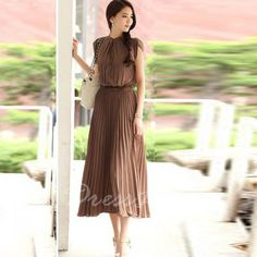 Fashion and Elegant Style Ruffles Embellished Scoop Neck and Sleeveless Design Women's Pleated Mid-Calf Dress (BROWN,FREE SIZE) in Maxi Dresses | DressLily.com