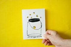 Firefly Card Screenprint Illustration Hand Painted by HejJuni