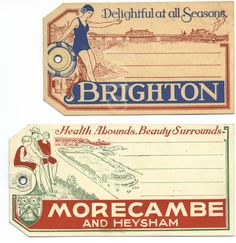 Seaside resorts luggage labels 1930's.