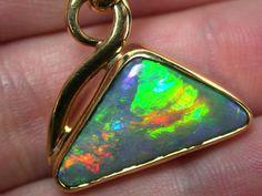30 YEAR OLD GEM BLACK OPAL FIRE PENDANT SCO724 opal jewellery australian opal