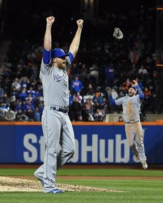 Kansas City Royals relief pitcher Wade Davis, left, and first baseman Eric Hosmer react after finishing off the New York Mets in the twelfth inning to win the World Series on Sunday, November 1, 2015 at Citi Field in New York.