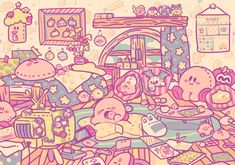I would kill for this room >> I want the pillows All Video Games, Video Game Art, Kirby Nintendo, Super Nintendo, Nintendo Dsi, Nintendo Games, Nintendo Switch, Kirby Games, Kirby Character