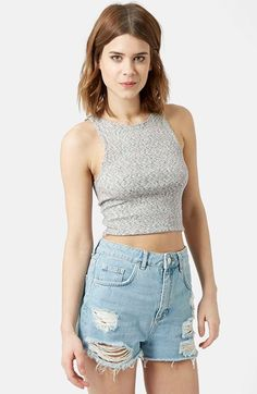Women's Topshop High Neck Crop Top, Size 12 US (fits like 14) - Grey | 40% desligar