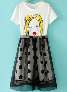 白のコントラスト水玉ガーゼ肖像画プリント ドレス