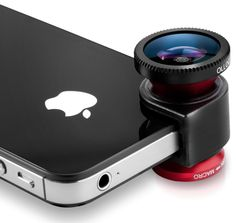 The olloclip is a quick-connect lens solution for the iPhone that includes fisheye, wide-angle and macro lenses in one small, convenient package that easily fits in your pocket.  http://amzn.to/XIGS51
