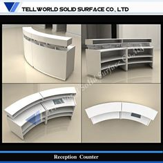 Gold Reception Desk Gold Reception D. Reception Counter Design, Curved Reception Desk, Receptionist Desk, Gift Shop Displays, Design Studio Office, Spa Interior, Pharmacy Design, Home Office, Clinic Design