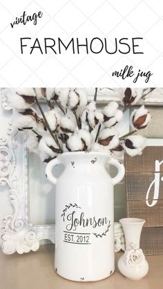 This Farmhouse Style Home Decor piece is the perfect touch for your farmhouse style decor! It is a Rustic looking milk jug that measures just at 10 inches in height. It makes for a great wedding gift too! #affiliate