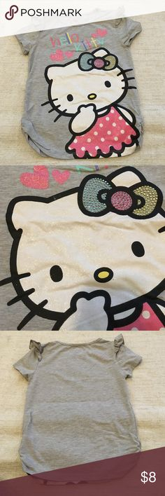 Kids hello kitty top Little ruffle sleeves. Grey top with hello kitty print size 6 kids Tops